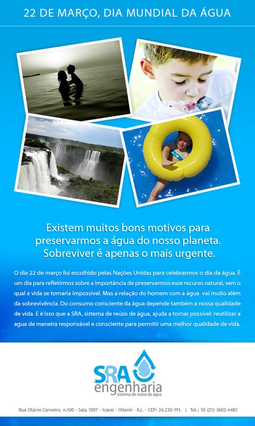 Veja a mensagem da SRA para o Dia Mundia da Água, 22 de março.